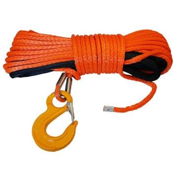 SYNTHETIC WINCH ROPES with SAFETY HOOK - 8mm x 15 metre offroad recovery 4 x 4